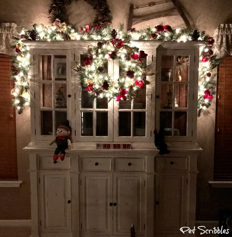 Elegant And Festive Christmas Wreath And Garland At Night Pet