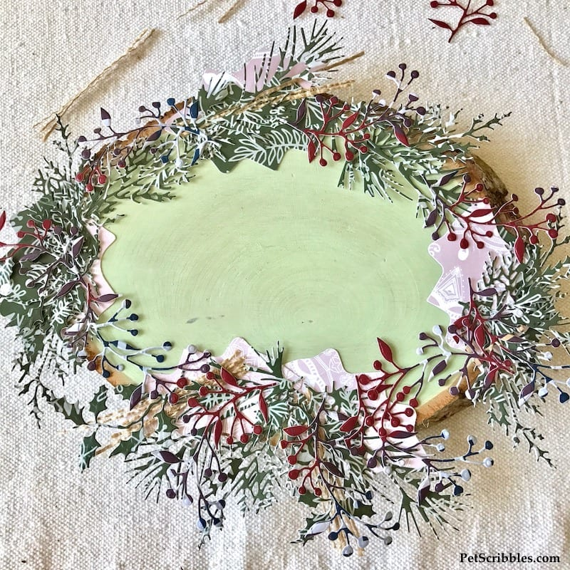 Holiday Wood Slice Candle Centerpiece with Paper Die Cuts