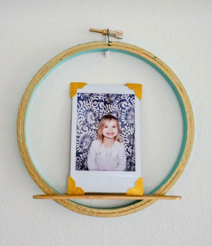 Embroidery Hoop and Popsicle Stick Picture Shelf