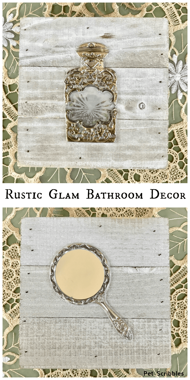 Rustic Glam Bathroom Wall Decor that you can make in 15 minutes!