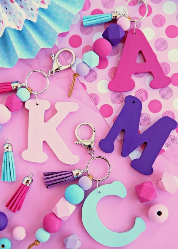 Wood-Monogram-Keychain-with-Beads-and-Tassel