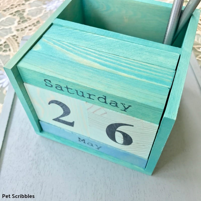 colorful stained wood perpetual calendar