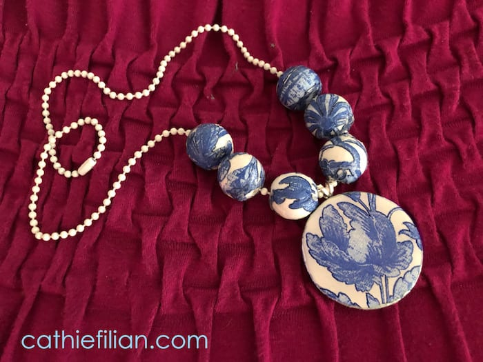 Faux Broken China Necklace with Napkins and Mod Podge by Cathie Filian