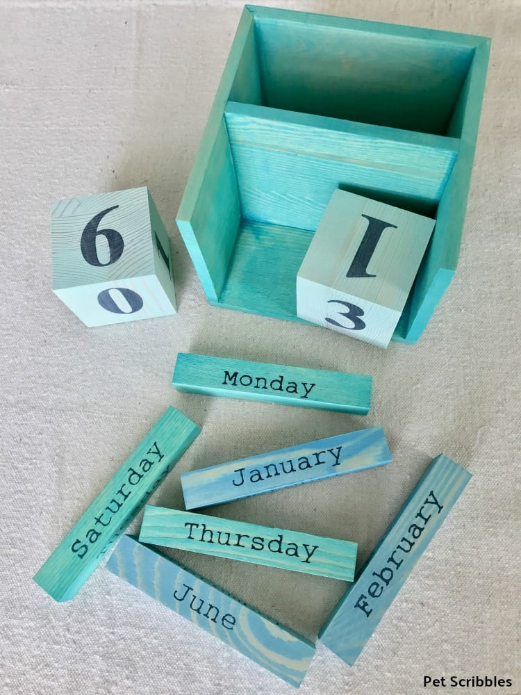 pickling wash paint on perpetual calendar