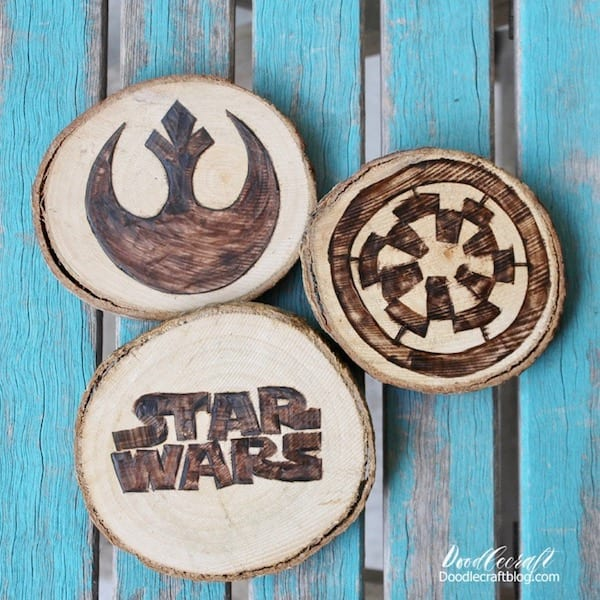 wood burned burning burn star wars coasters rebel alliance empire diy