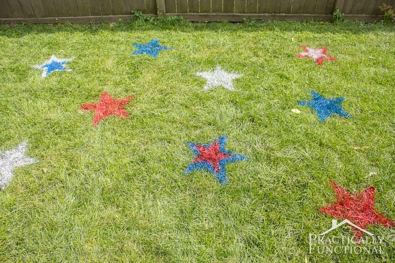 Patriotic Spray Painted Lawn Stars by Practically Functional