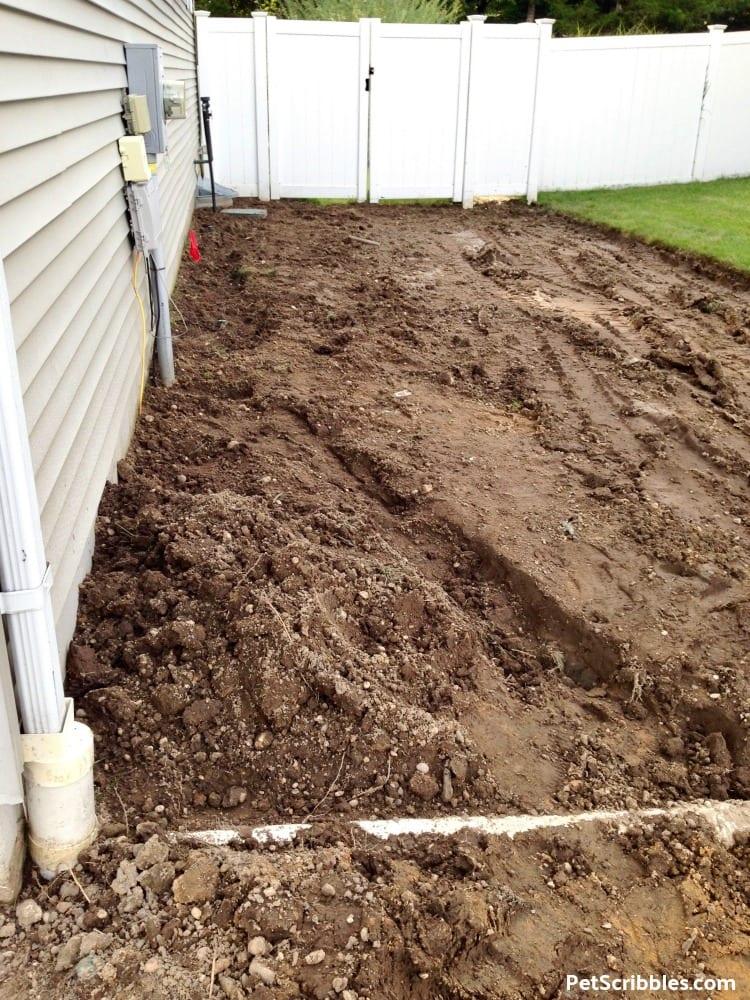 grass free side yard project