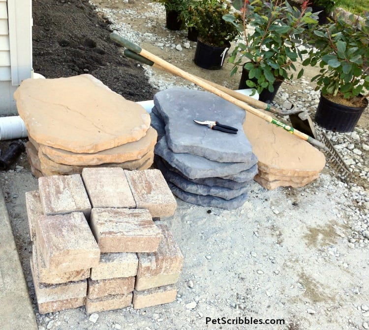 pavers and stepping stones for side yard project