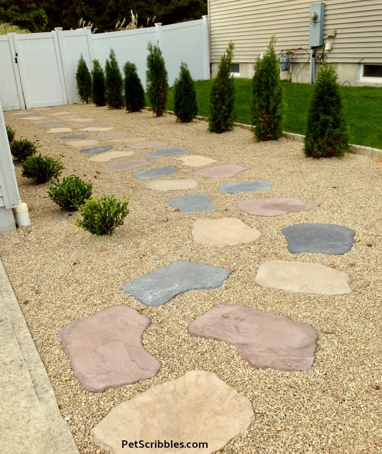 stepping stones and gravel for side yard
