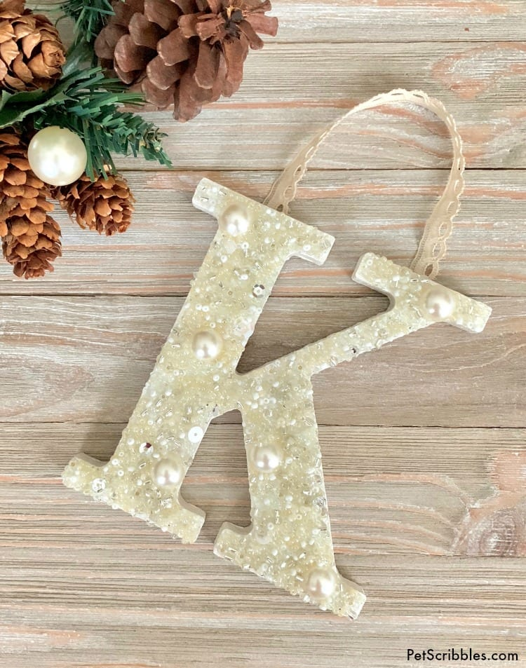 Beaded Monogram Letter Ornament DIY