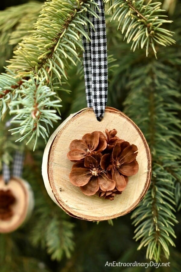 Rustic-Handmade-Christmas-Ornament-for-the-Tree-Birch-Wood-Slices-Display-Pretty-Hand-Cut-Pine-Cone-Flowers-AnExtraordinaryDay.net