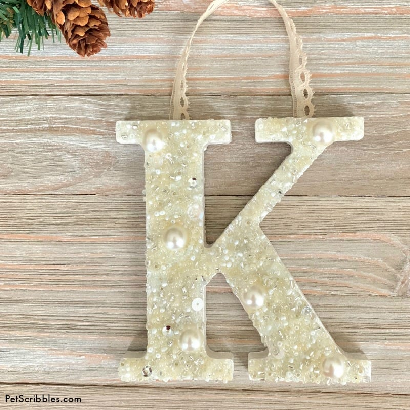 hanging beaded letter ornament