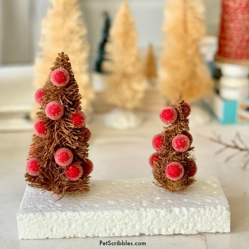 how to make rustic bottle brush trees
