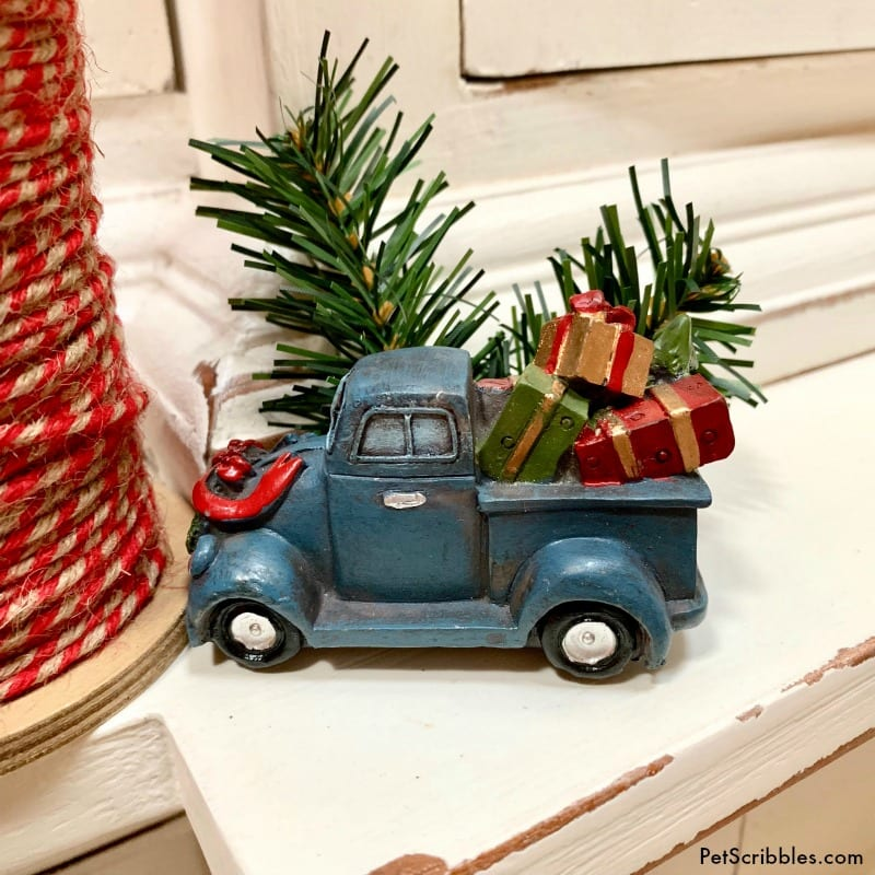 miniature farmhouse Christmas truck