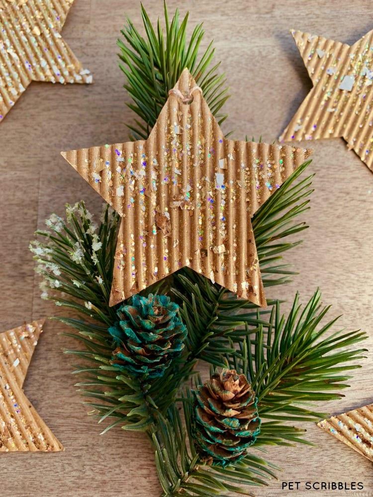 DIY Glitter Cardboard Christmas Star Ornaments