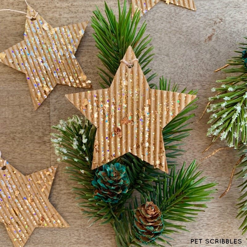 Glitter Cardboard Star Ornaments Tutorial