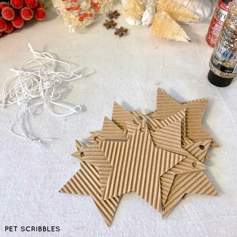 corrugated Christmas star ornaments