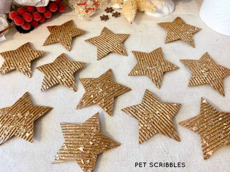 easy glitter cardboard star ornaments