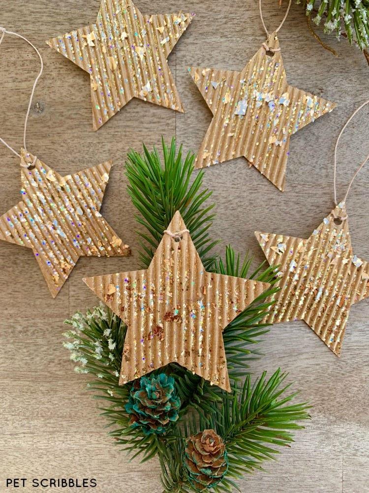how to make glitter cardboard star ornaments