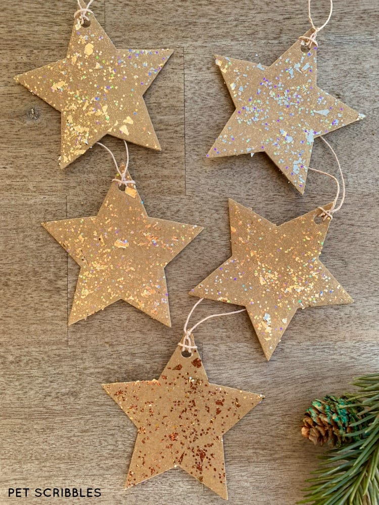 special glitter cardboard star ornaments