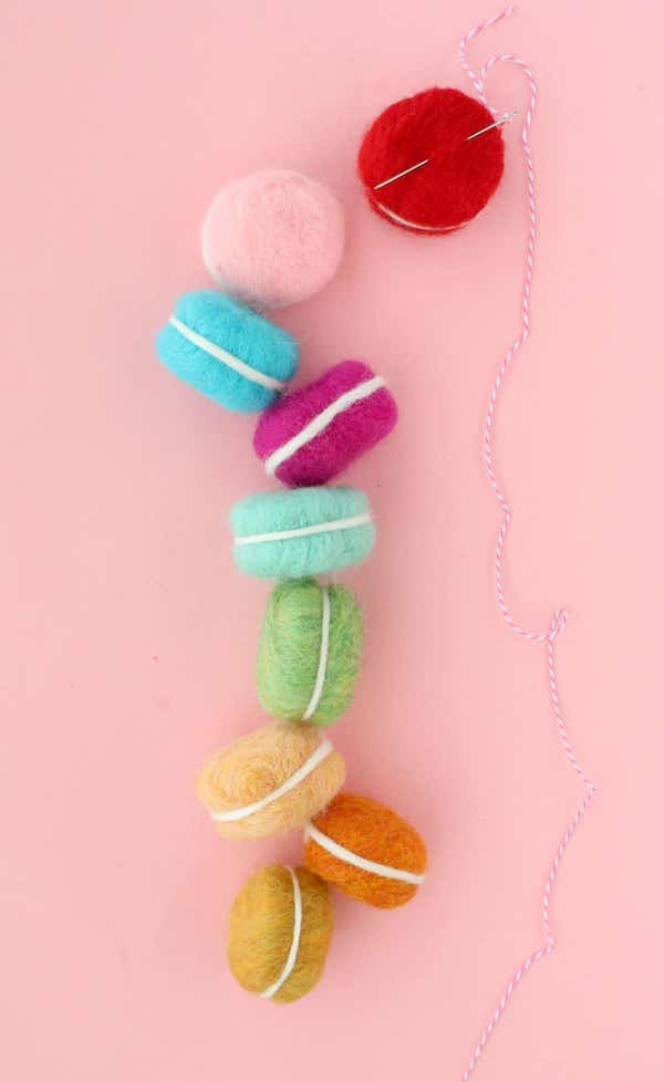 DIY Felt Macaron Garland by A Beautiful Mess