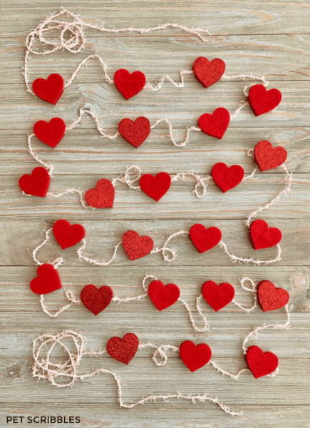 Easy No-Sew Felt Heart Garland