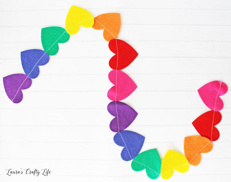 Felt Rainbow Heart Garland DIY by Laura's Crafty Life