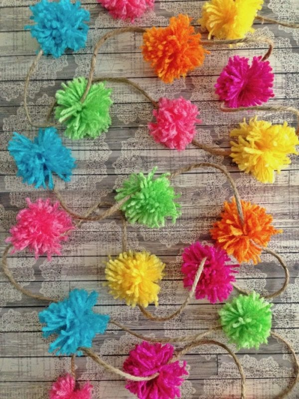 Rainbow Pom Pom Garland DIY by Pet Scribbles