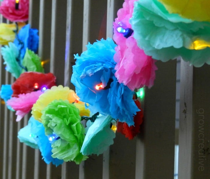 Tissue Paper Flower Party Lights Garland by Elise Engh Studios