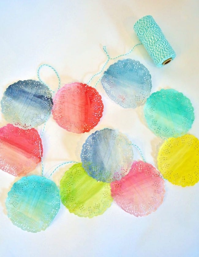 Watercolor Doily Garland DIY by Burlap and Blue