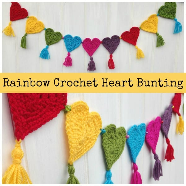 DIY Rainbow Crochet Heart Bunting Garland by Sum of their Stories
