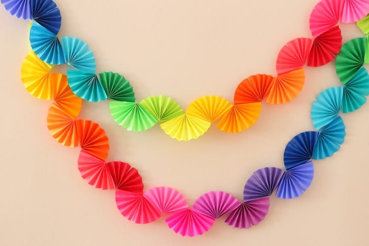 Rainbow Fan Garland DIY by Ice Cream Off Paper Plates