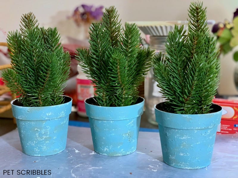 plastic plant pot makeover with chalk paint