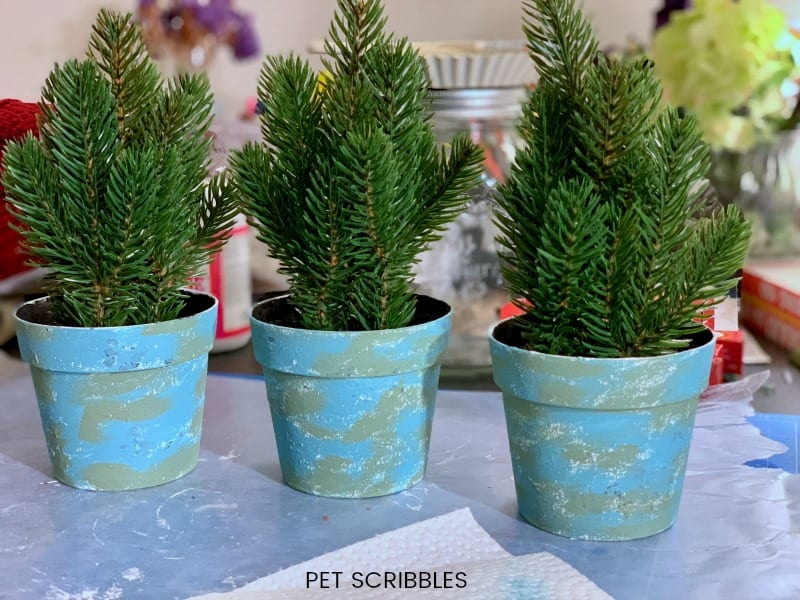 plastic pot makeover with chalk paint
