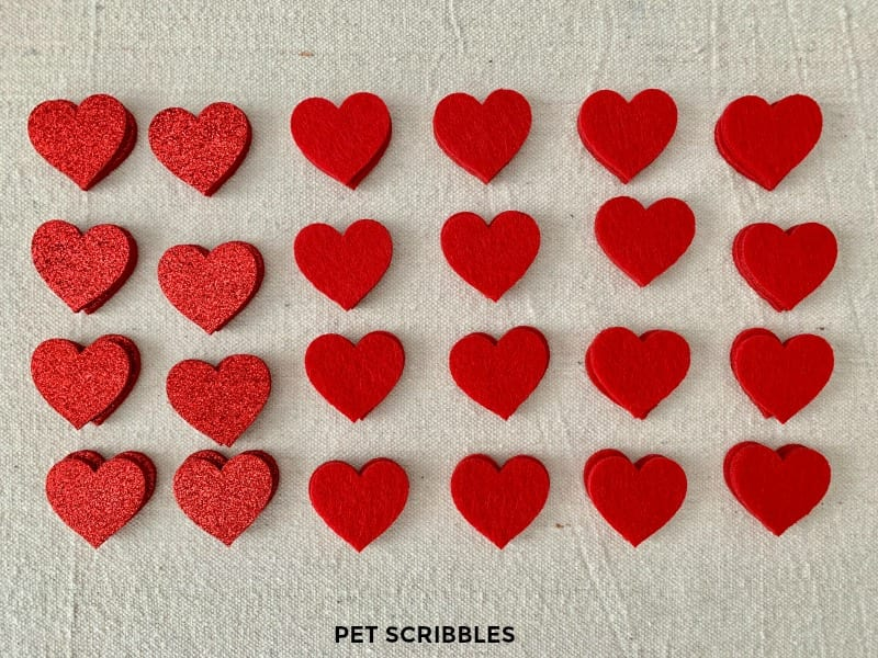 red glitter hearts and red felt hearts