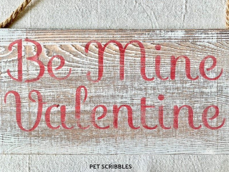 sanded rustic wood sign for Valentine's Day