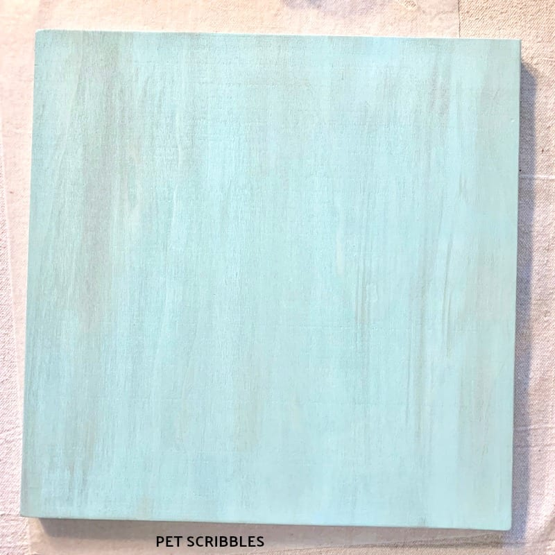 Wood panel painted in two colors of pickling wash