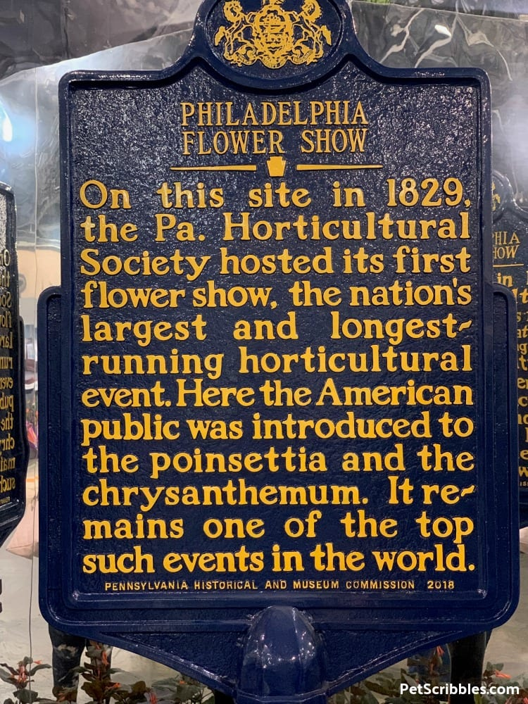 Philadelphia Flower Show History Sign