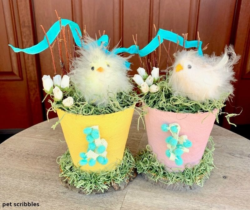 Spring Easter Chicks Peat Pot Decorations