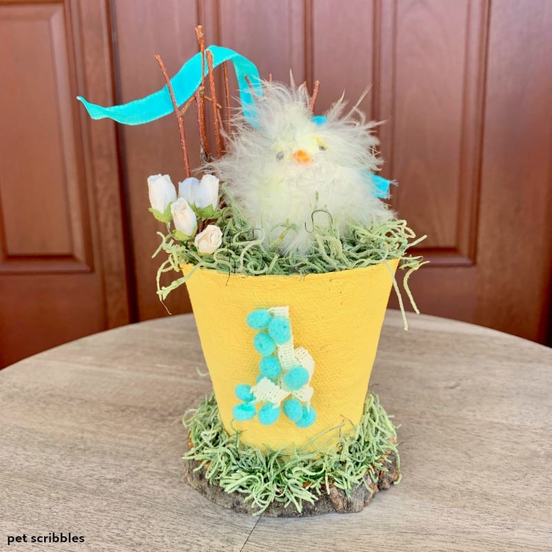 Yellow Easter Chick Peat Pot Craft