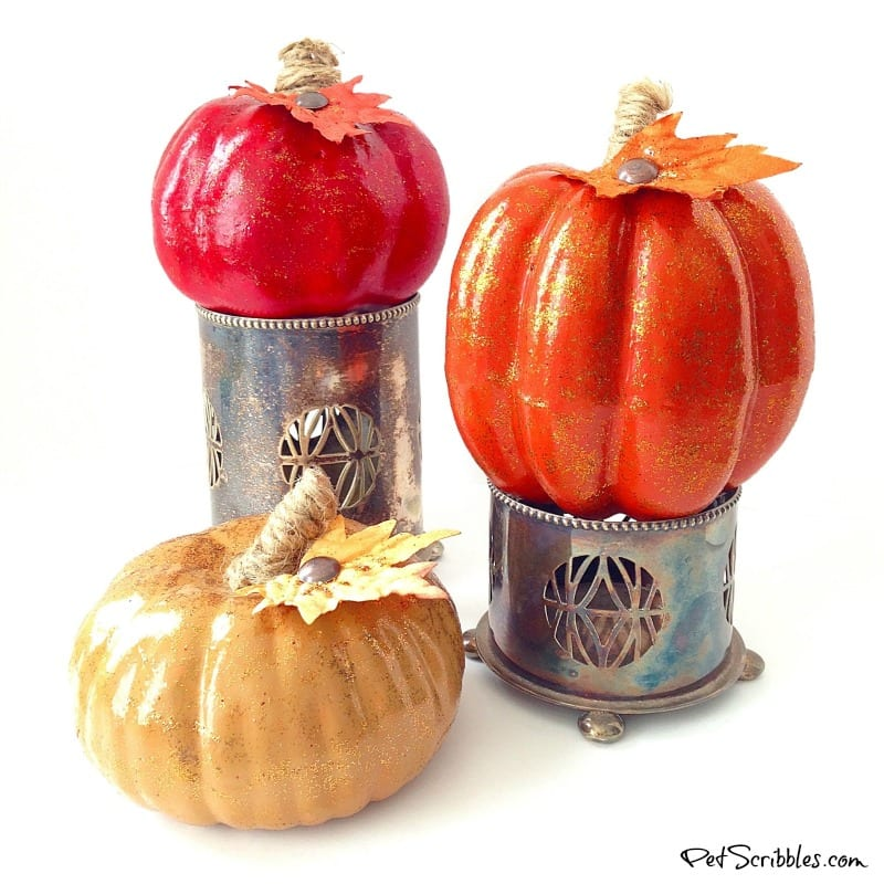 small painted glittered pumpkins