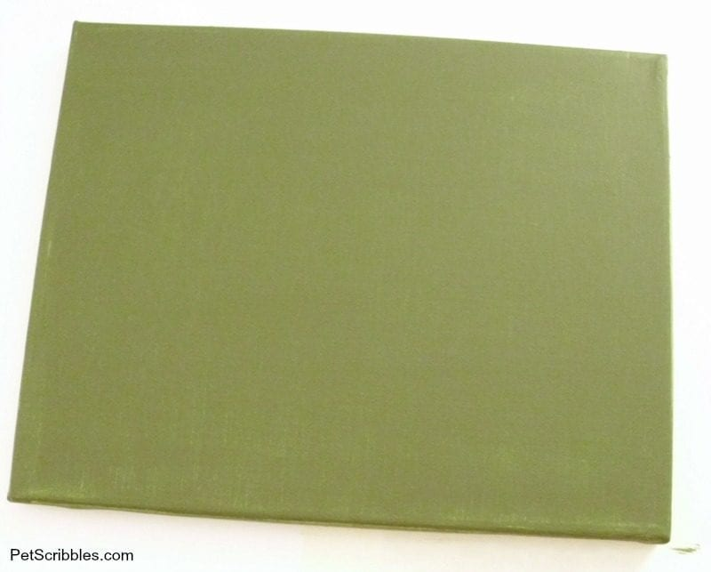 canvas painted with olive craft paint