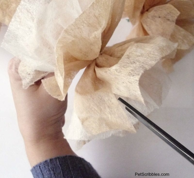 cutting slits in dryer sheet flowers