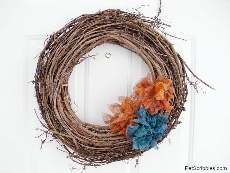 dryer sheet flowers wreath
