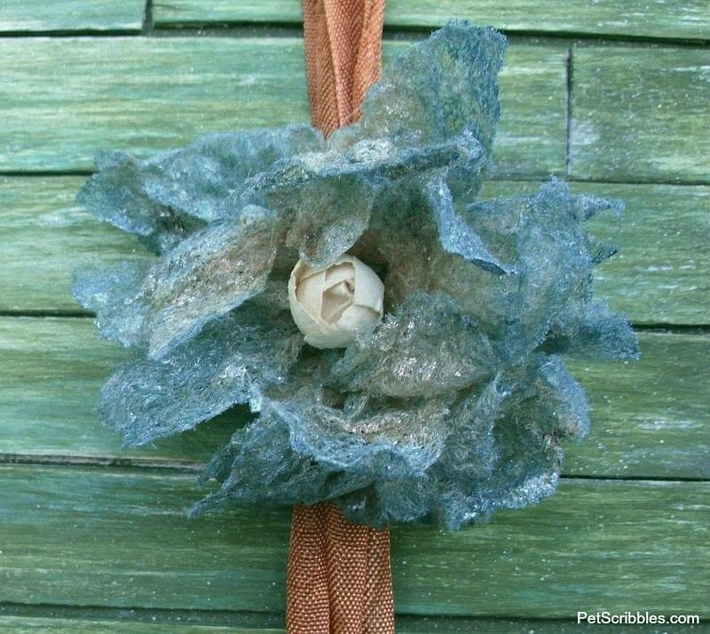 shabby dryer sheet flower