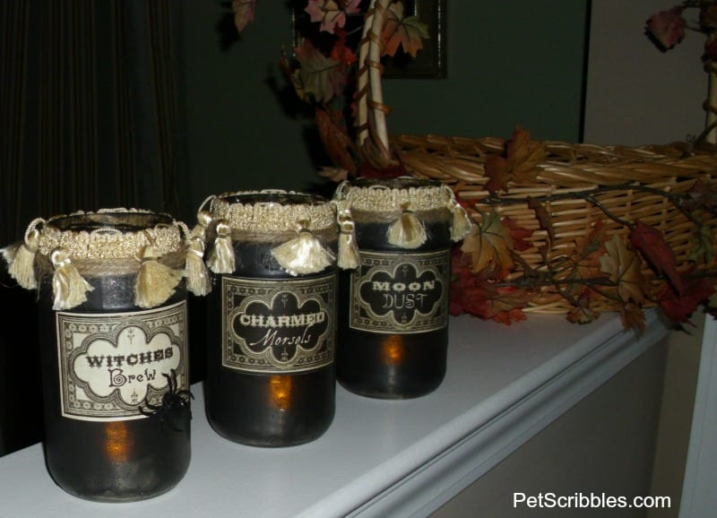 Halloween potion jars lanterns
