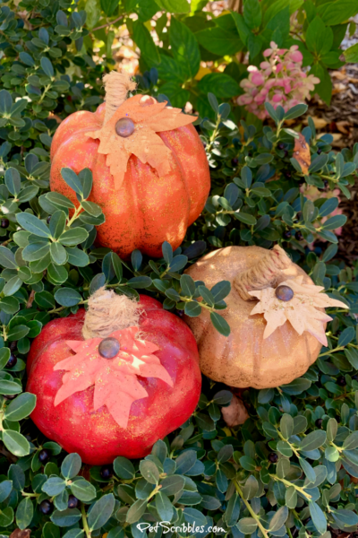 Painted and Glittered Dollar Store Pumpkin Makeover