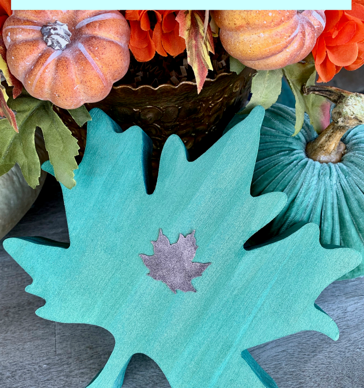 Teal Fall Decor: Painted Wooden Leaves