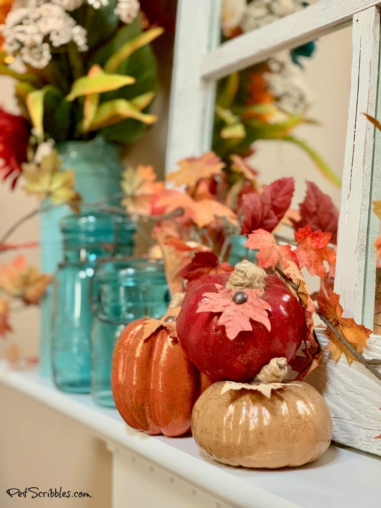 dollar store pumpkin makeover in Fall colors