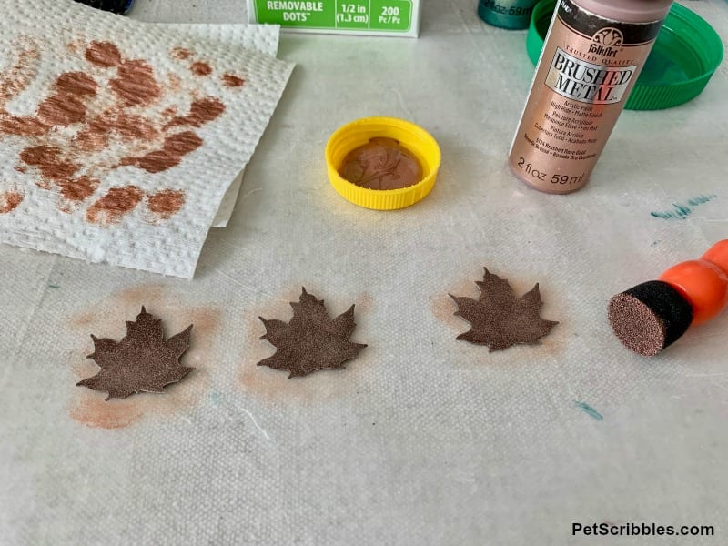 painted rustic tin leaves